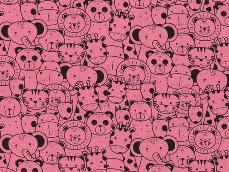 Animals In A Crowd Cotton Jersey, Pink