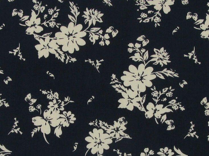 Hawaii Garden Cotton Poplin, Dark Navy
