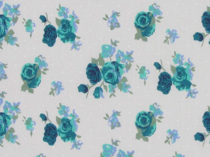 Buscot Spot Rose Polycotton Print, Jade