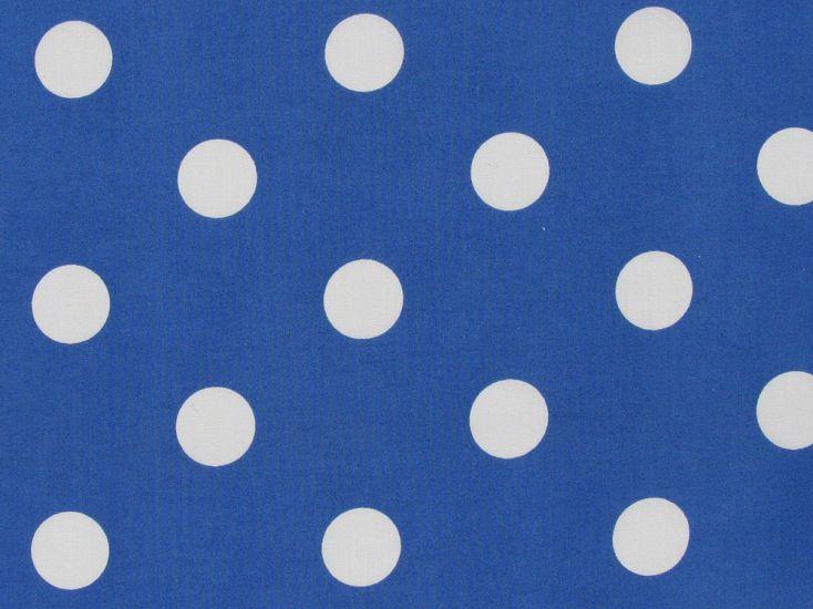 Large White Polka Dot on Royal Background Polycotton Print