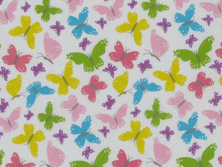 Butterfly Dance Polycotton Print, White