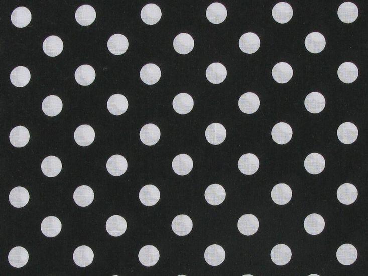 1cm Spot Polycotton Print, Black