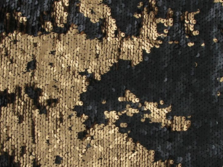 Reversible Sequin Tulle, Gold and Black