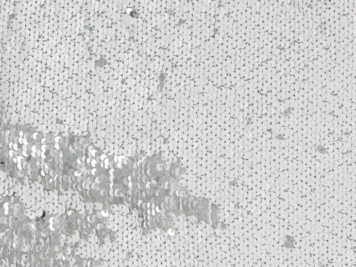 Reversible Sequin Tulle, White and Silver