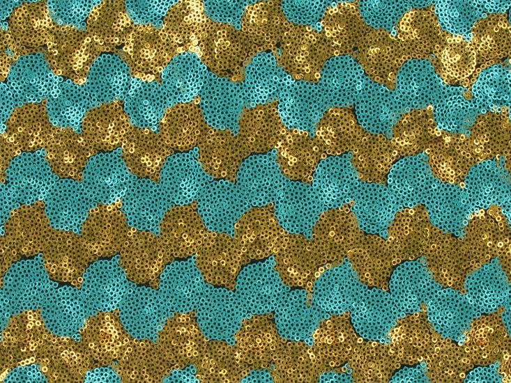 3mm Sequin Tulle with Two Tone Wave, Blue and Gold