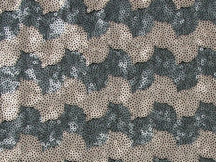 3mm Sequin Tulle with Two Tone Wave, Grey and Gold