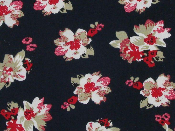 Floral Breeze Cotton Print, Navy