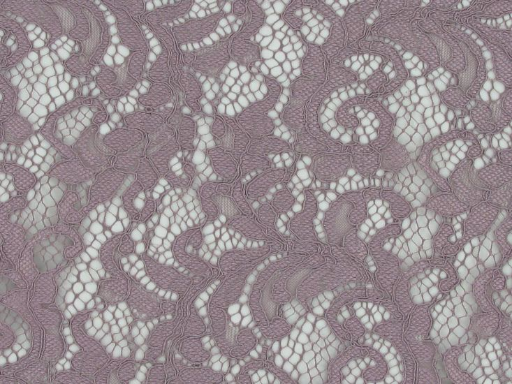 Heavy Corded Floral Lace with Double Scallop Edge, Violet Ice