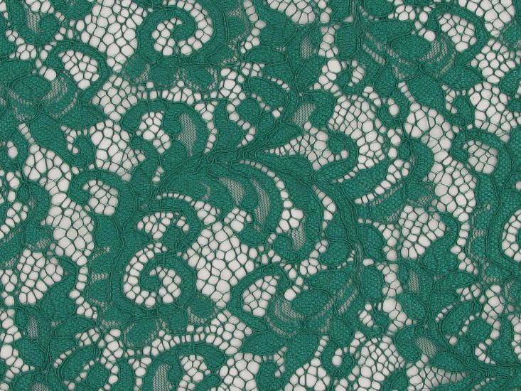 Heavy Corded Floral Lace with Double Scallop Edge, Emerald