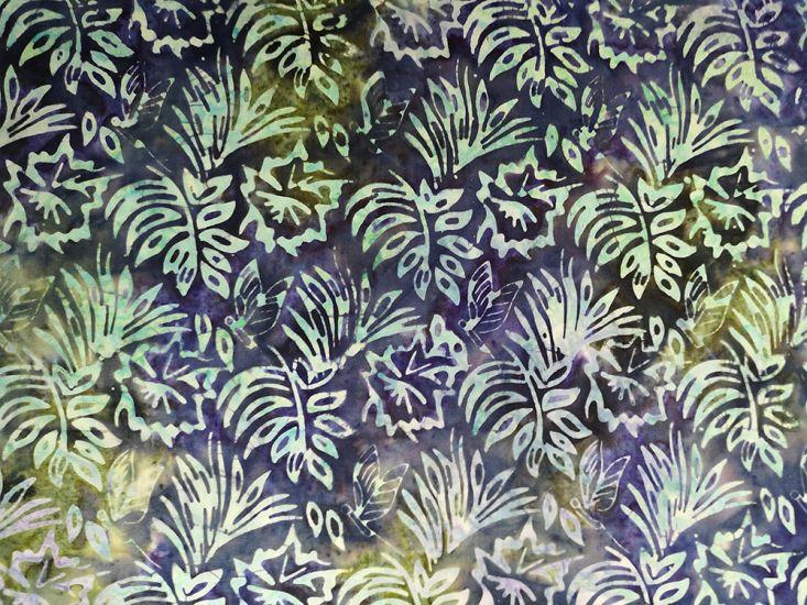 Bali Batik Cotton, Floral Butterfly, Midnight