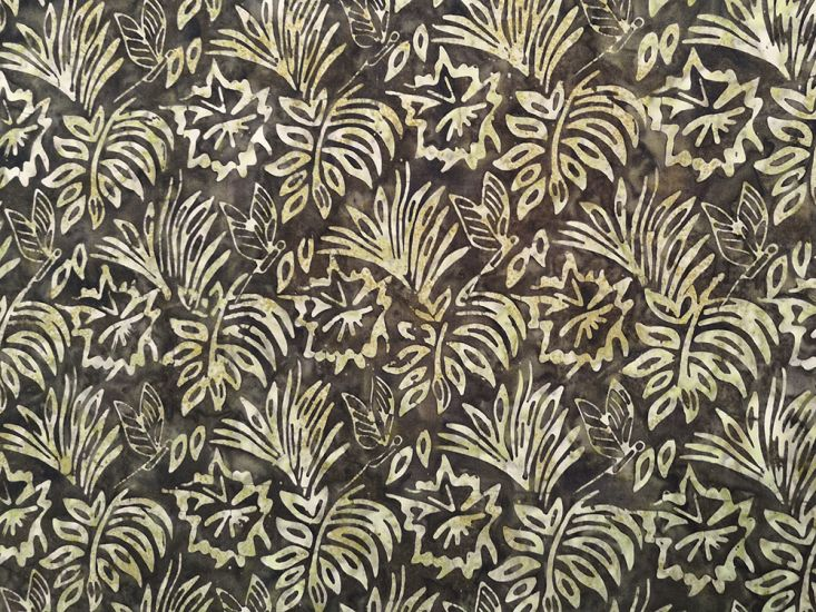 Bali Batik Cotton, Floral Butterfly, Cocoa