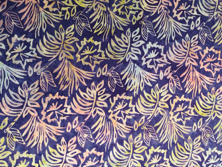 Bali Batik Cotton, Floral Butterfly, Warm Night