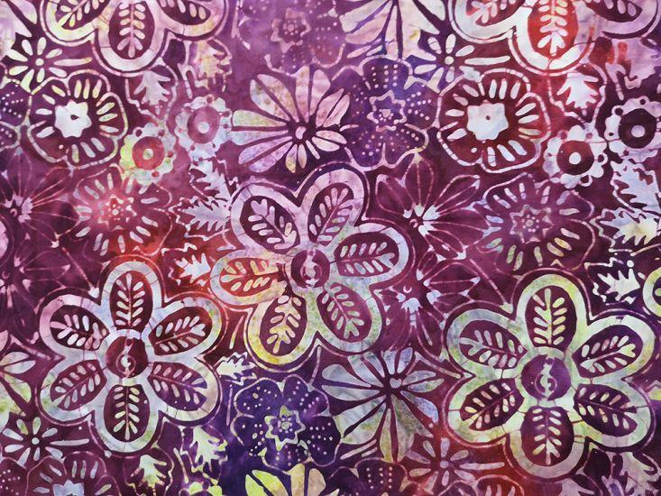 Bali Batik Cotton, Meadow Flower, Plum