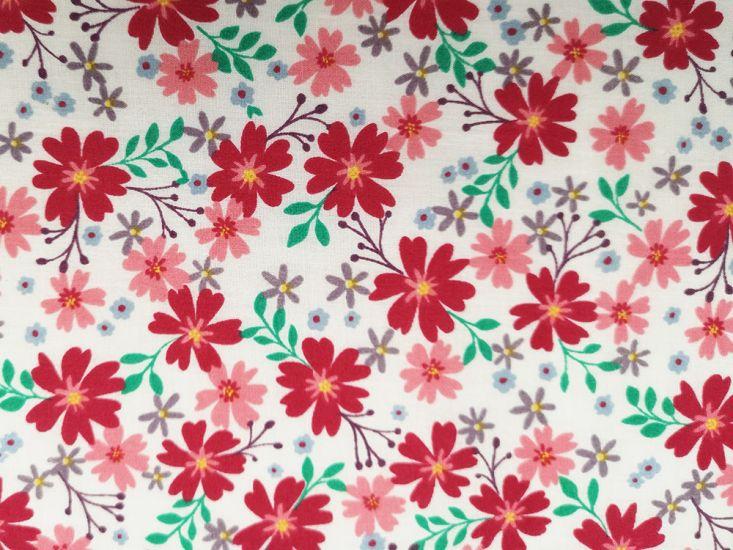 Cherry Blossom Bloom Polycotton Print, Cerise
