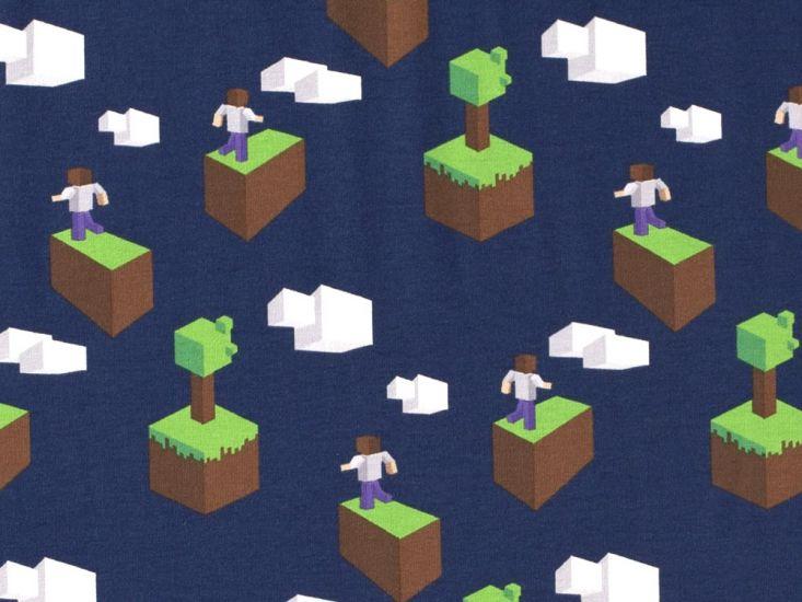 Gaming Blocks Cotton Jersey, Navy