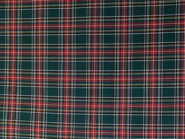 Woven Cotton Tartan, Green and Red