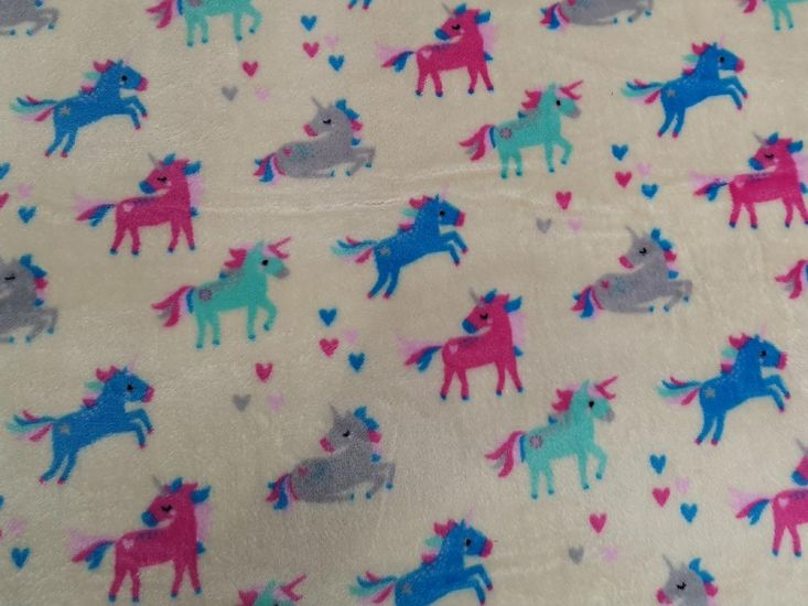 Ultra Soft Cuddle Fleece, Unicorn Print, Ivory