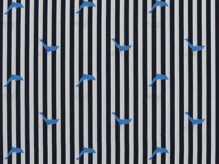 Dolphin Stripe Cotton Print, Navy Blue