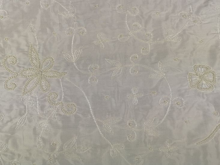 Embroidered Silk Dupion, Ivory, Rose
