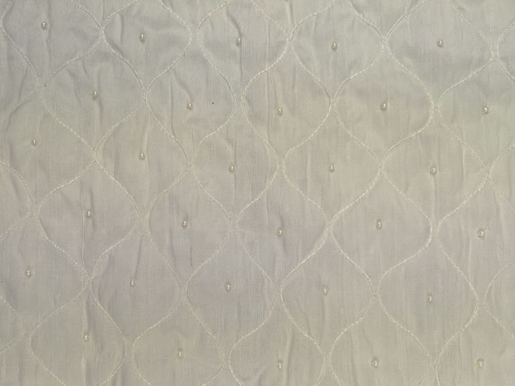 Embroidered Silk Dupion, Ivory, Wave