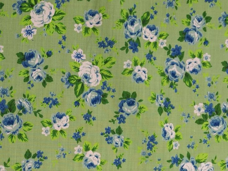 English Bloom Polycotton Print, Green and Blue