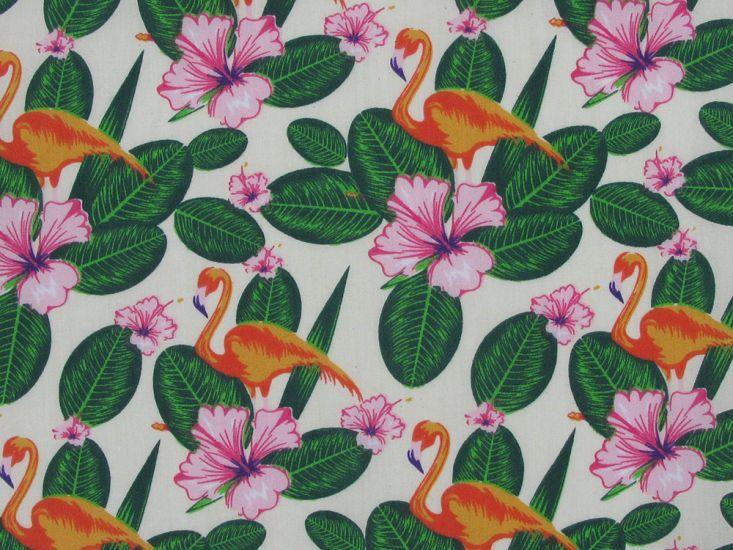 Floral Flamingo Polycotton Print, Cream