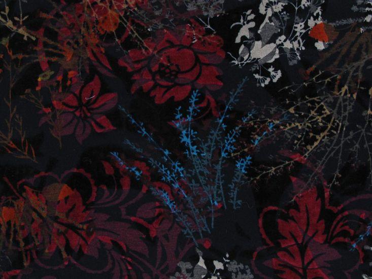 Printed Flock Jersey, Flower Garden, Orange