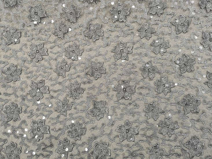 Scalloped Edge Floral Sequin Lace, Silver