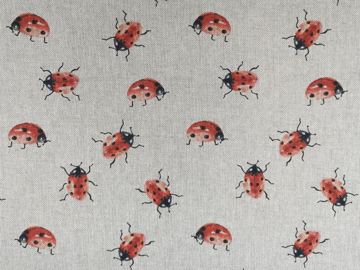 Linen Look Printed Panama, Ladybird