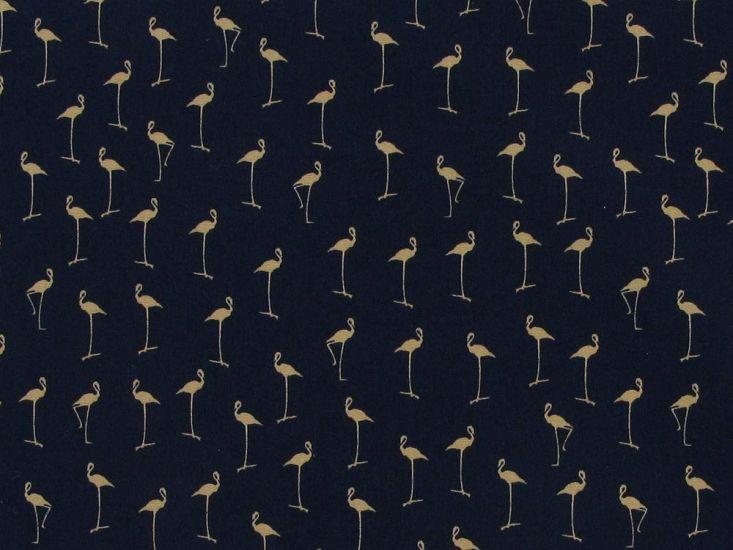 Mini Flamingo Cotton Print, Royal Blue