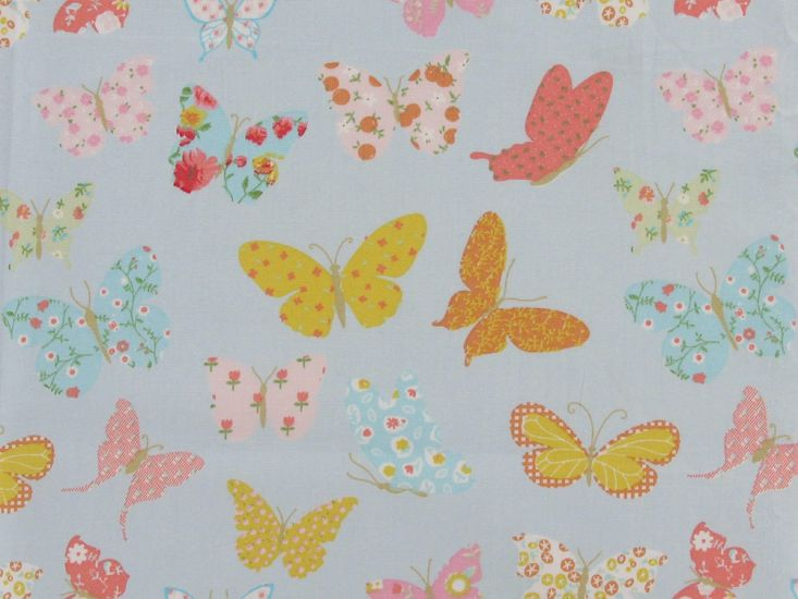 Patchwork Butterflies Cotton Print, Blue