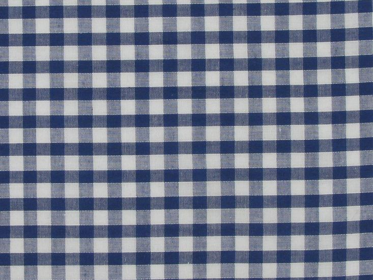Polycotton Gingham, 1/4 inch, Navy Blue