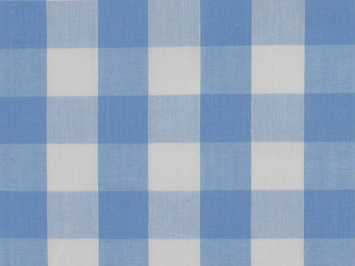 Polycotton Gingham, 1 inch, Light Blue