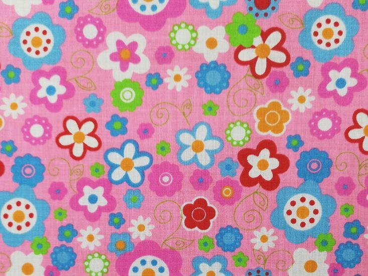 Bright Garden Polycotton Print, Pink