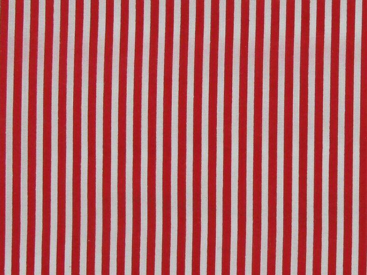 Candy Stripe Polycotton Print, Red