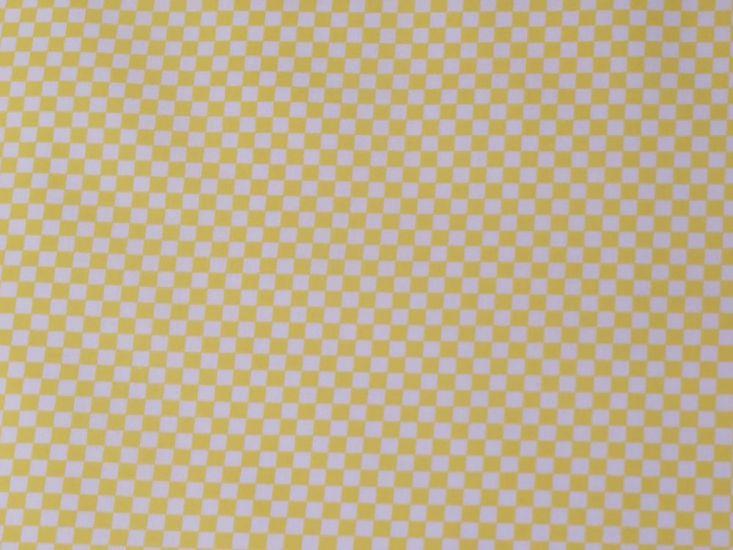 Check Polycotton Print, Yellow
