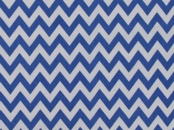 Chevron Polycotton Print, Royal Blue