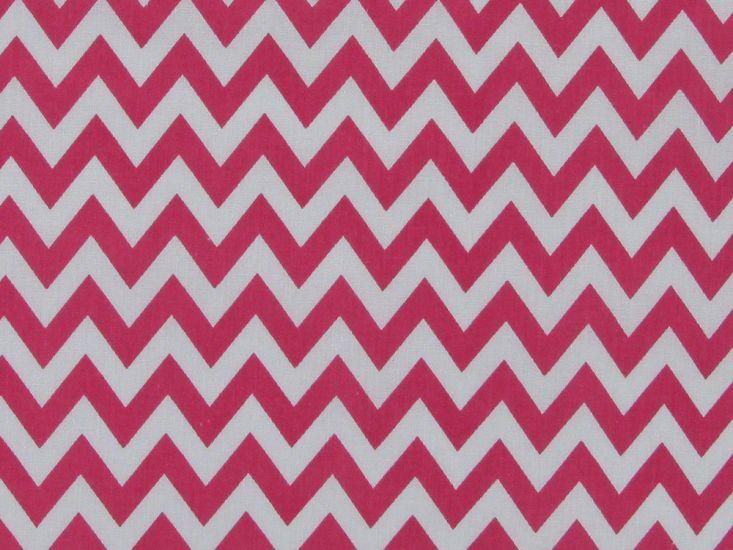 Chevron Polycotton Print, Pink
