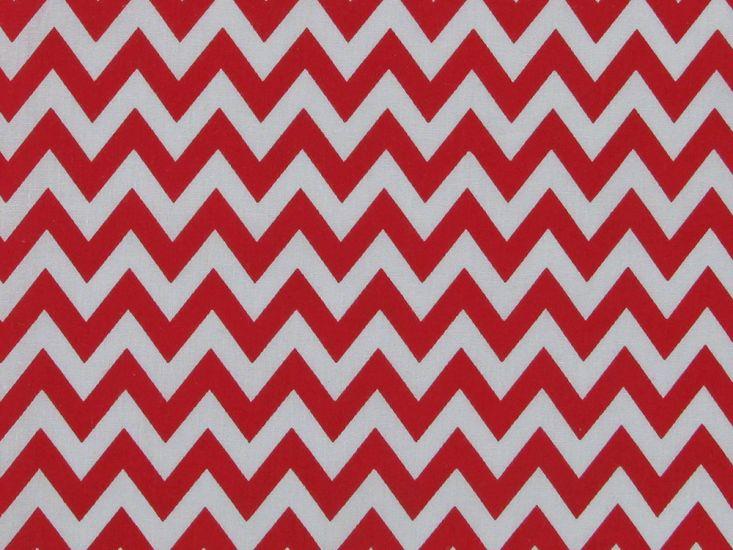 Chevron Polycotton Print, Red