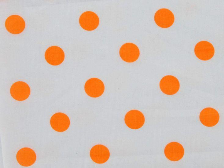 Large Orange Polka Dot on White Background Polycotton Print