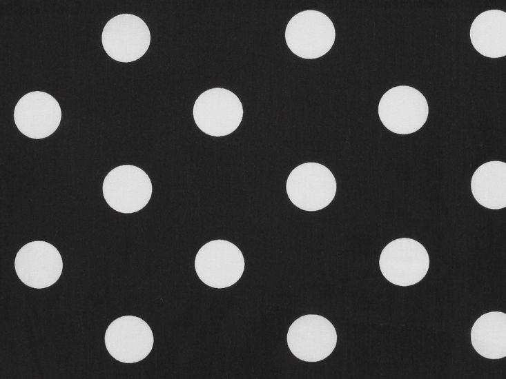 Large White Polka Dot on Black Background Polycotton Print