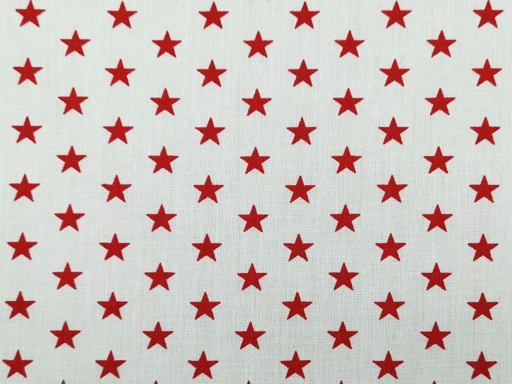 1cm Stars Polycotton Print, Red