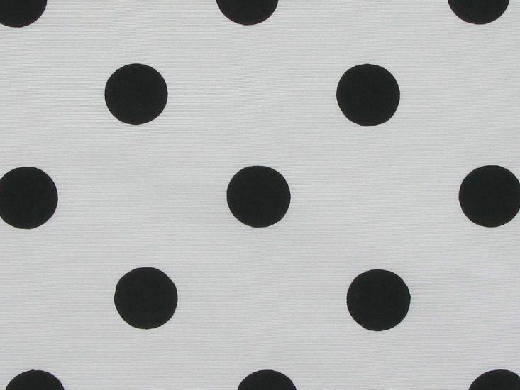 Polka Dot Grosgrain Taffeta, Black on White Background