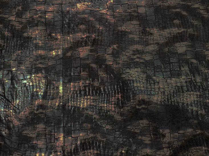 Printed Jersey, Crocodile Skin, Black and Gold