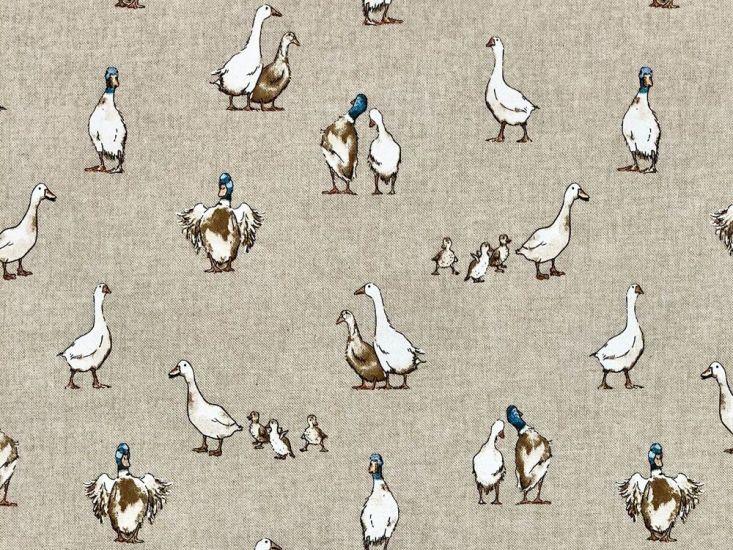 Linen Look Printed Panama, Shabby Ducks