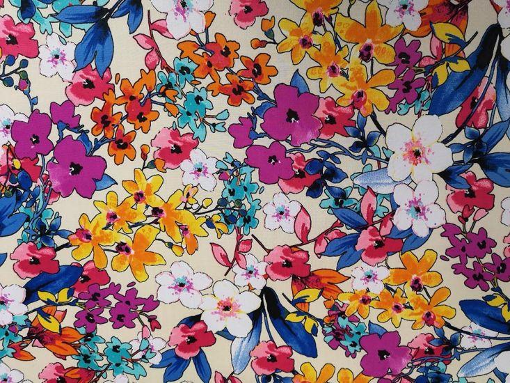 Printed Jersey, Sakura Bloom, Cream