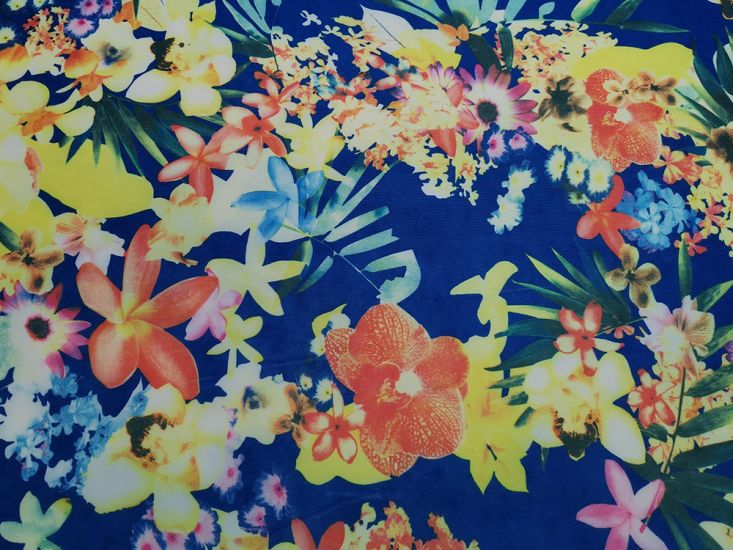 Printed Scuba, Tropical Flowers