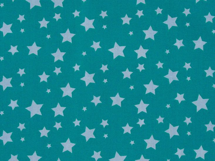 Stars Cotton Print, Aqua