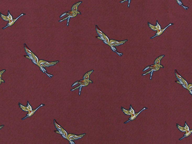 Birds in Flight Stretch Polyester Print, Dusky Rose