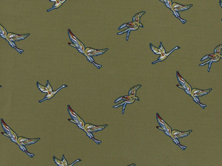 Birds in Flight Stretch Polyester Print, Sand